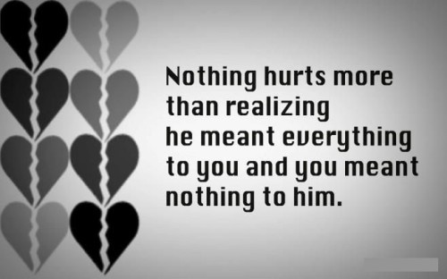 Sad Quotes On Love Hurts In English : 11 ?Nothing hurts more than realizing that he meant everything to ...