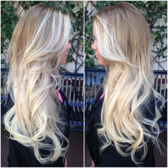 Ash Brown Hair with Platinum Blonde Ombre