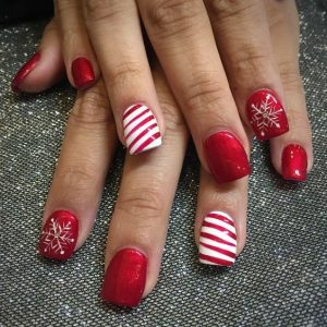 candy cane and snowflakes