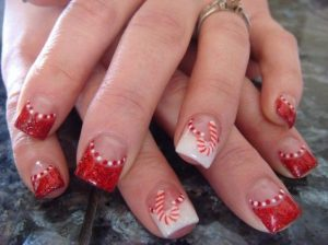 christmas french manicure
