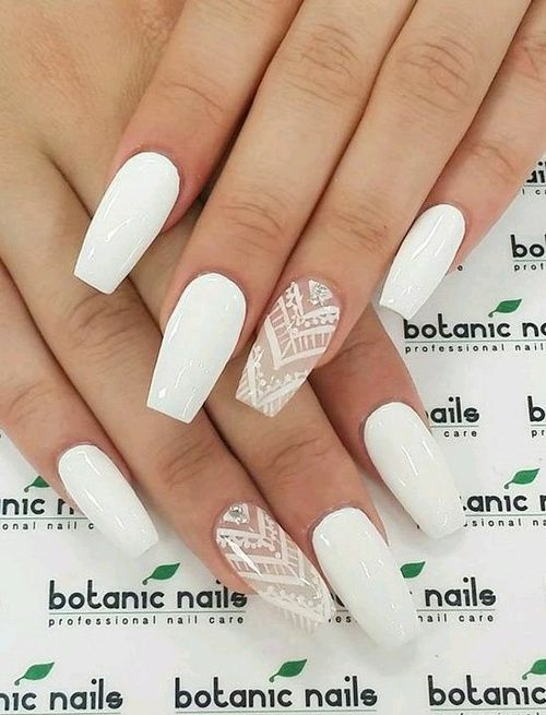 Perfect for spring and summer, this white lace coffin nail design is  feminine and a - White Acrylic Nail Designs Graham Reid
