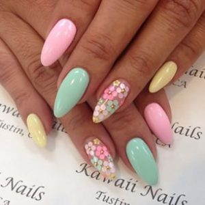 Pastel nails 35 creative pastel nail art designs part 24 this beautiful bright pastel nail art design with the tiny colorful flowers reminds us of pretty easter eggs and its the perfect manicure for a cute prinsesfo Choice Image