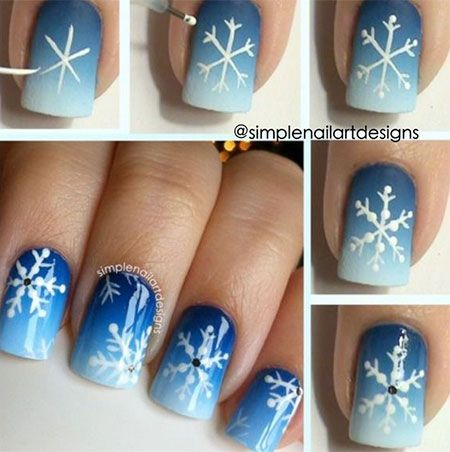 25 snowflake nail designs for christmas eve part 2 if you couldnt find snowflake stickers and would like to recreate the snowflake nail art design there is a quick tutorial on how to create the perfect prinsesfo Image collections