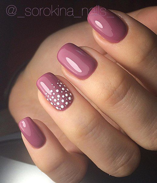 Dusty pink is one of the hottest colors around and flatters every skin tone  under the sun. That's why it is perfect for your nails. - 35 Pretty And Simple Nail Designs For Girls On The Go