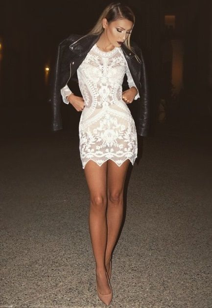 We Love The Contrast Between Gorgeous Soft White Lace Dress Black Biker Jacket And Bold Lips While Is Figure Hugging