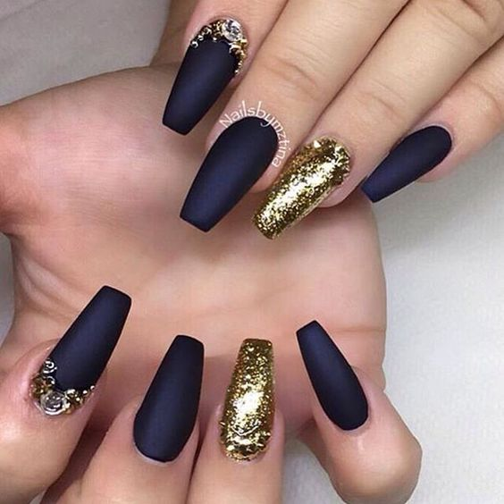 Gold nails 35 gold nail designs part 11 gold and royal blue together creates an exquisite nail design that can be mixed and matched with endless shades from simple nude and beige to deep burgundy prinsesfo Choice Image