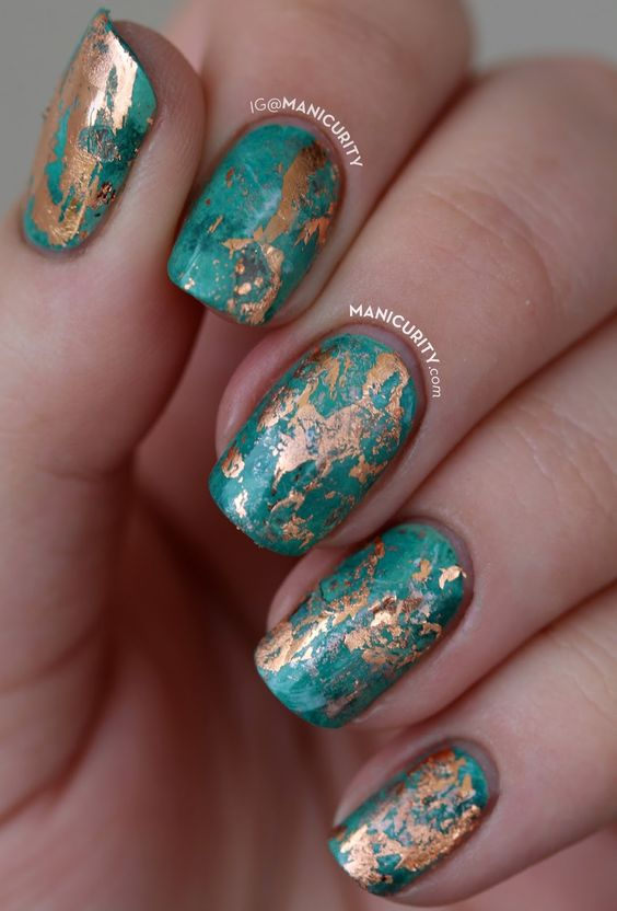 Gold nails 35 gold nail designs 18turquoise and gold nails prinsesfo Gallery
