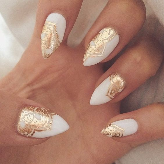 4White and Gold Nails Detailing - Gold Nails: 35 Gold Nail Designs - Part 2