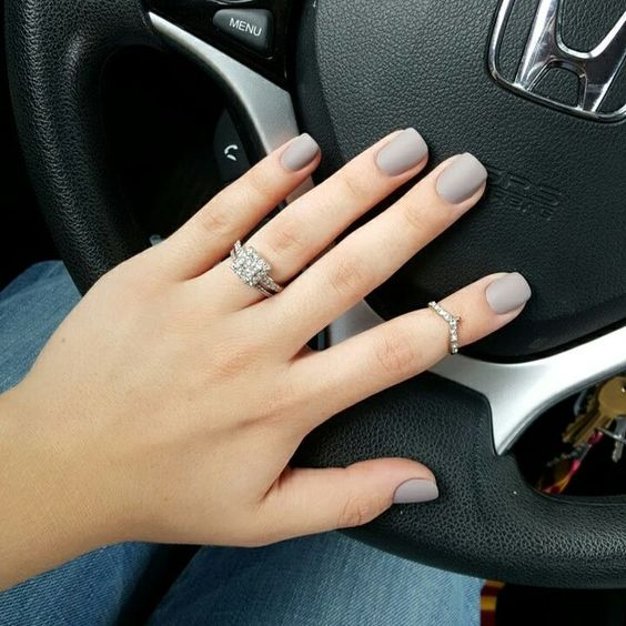 Nude nails 30 beautiful nude color nail designs part 2 shaped nails with a matte grayish taupe shade is the perfect minimalistic nude nail design with a slight twist to it because its a neutral color prinsesfo Images