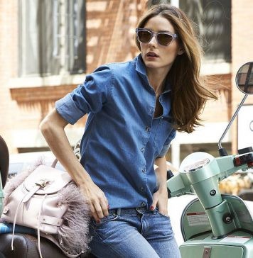 celebrity denim shirt outfits