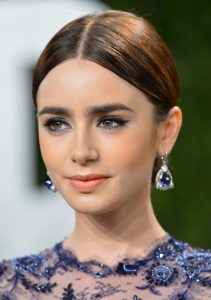 Lily Collins hair updo
