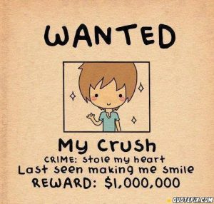 Wanted my crush Crime stole my heart Last seen making me smile