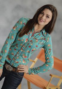 Floral print western style button down