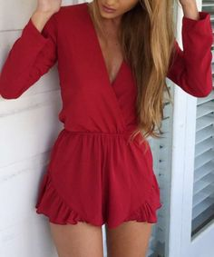 Lace-Up Ruffled Romper