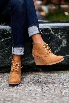 Lace-up suede wedge booties