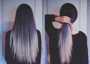 Long dark purple and silver ombre