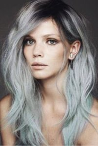 Shoulder length silvery blonde ombre
