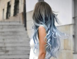 Icy blue ombre hair