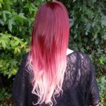red and pink ombre extensions