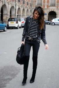 black outfit with jeans