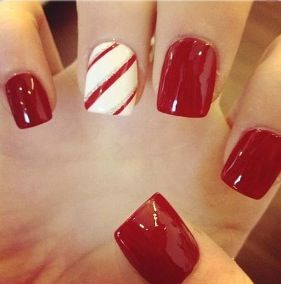 candy cane accent nails