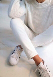 sporty white outfit