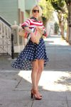Navy and polka-dotted high-to-low skit