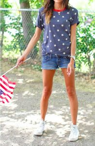 Star shirt and jean cropped shorts