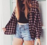 Crop top and cut-off shorts with statement flannel.