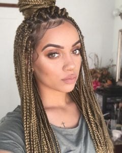 half up box braids