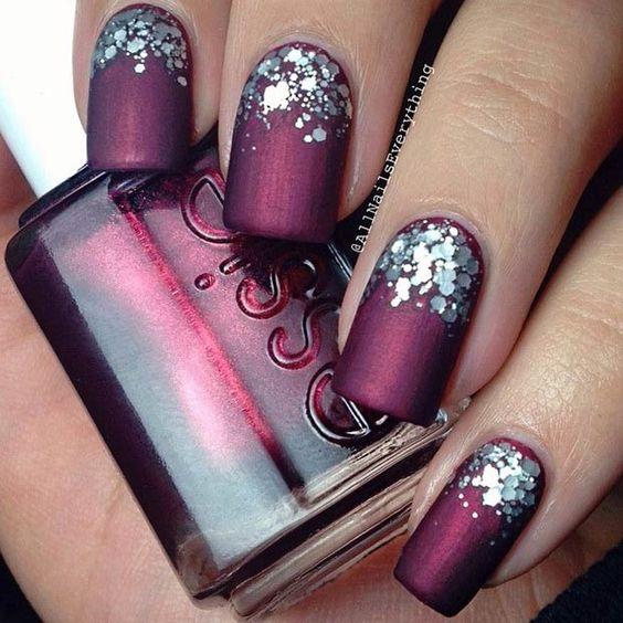 matt nails glitter