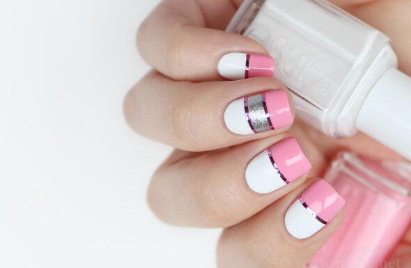 pink white nail polish