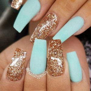 turquoise gold nails