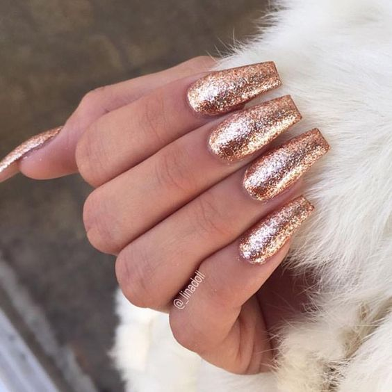 26Rose Gold Glitter Coffin Nails