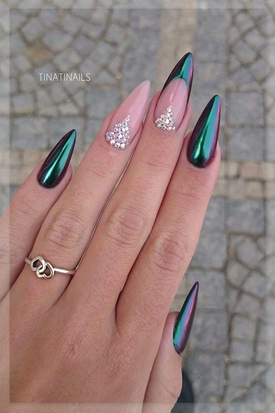 30 Beautiful Diamond Nail Art Designs | Diamond Nails Inspiration