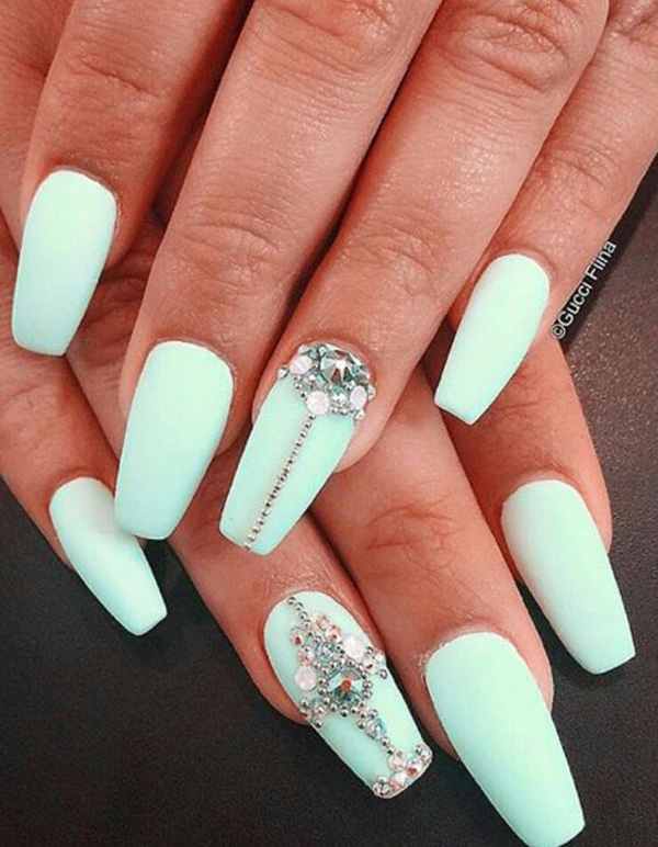 From the coffin nail design to the rich placement of the small diamonds and  the vivid light blue nail polish base, this nail art couldn't be any more  ... - 30 Beautiful Diamond Nail Art Designs Diamond Nails Inspiration