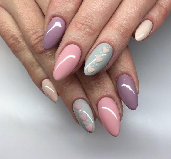 knit pastel nail art