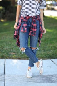 ripped jeans school outfit