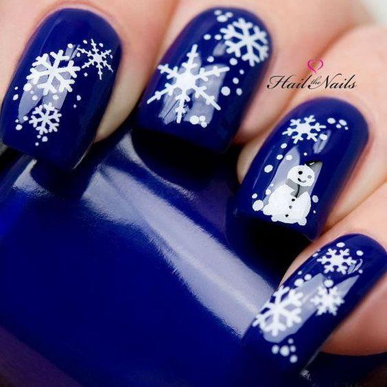 blue snowflake nails