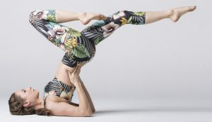 patterned yoga outfit