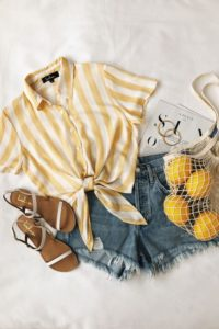 Short Denim and Yellow Striped Tie Front Top