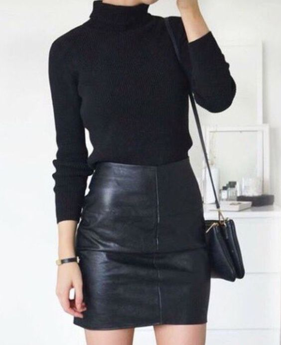 black leather and lace outfit