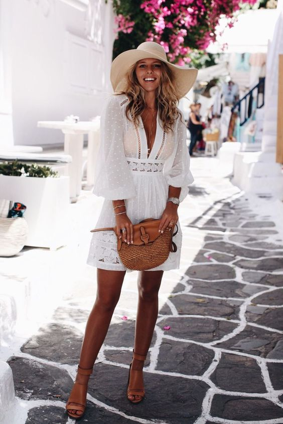 47b001ff46dc This beach cover up dress with the sunhat and the tan bag and shoes is a great  look for a beach brunch!