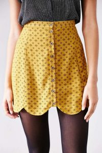 yellow scallop skirt