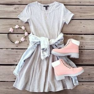 grey t-shirt dress