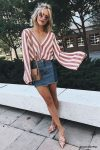 striped blouse outfit