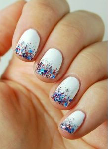 blue red glitter nails