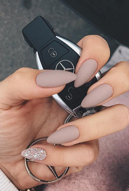 matte taupe nails