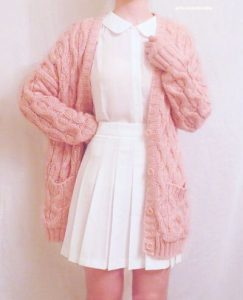 pink chunky knit sweater
