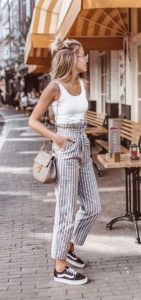 stripe belted high waist